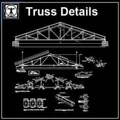 """Roof Truss Structure Detail"" make reference to the frames made up of timber that would be nailed, bolted or pegged together to form structurally independent Truss Structure, Steel Structure Buildings, Steel Trusses, Roof Trusses, Plan Autocad, Roof Truss Design, Building Elevation, Steel Detail, Stairs Architecture"