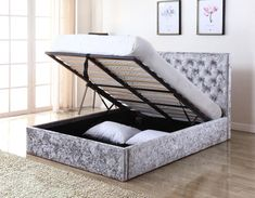 The Yasmin Storage Bed is a wholesome bed in the new trend of crushed velvet, finished in Silver with a fabric base. Crushed Velvet Double Bed, Silver Crushed Velvet Bed, Crushed Velvet Ottoman Bed, Crushed Velvet Bedroom Ideas, King Size Storage Bed, Lift Storage Bed, Ikea Storage Bed, One Room Flat, My New Room
