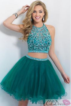 Empire Halter Tulle with Beadings Two Piece Green Homecoming Dress - HomeComing Dresses - Homecoming   Cocktail   Party - CDdress.co