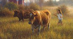 Autumn Art from Robert Duncan Robert Duncan Art, Farm Art, Cow Art, Country Art, Country Life, Country Living, Country Scenes, Jolie Photo, Autumn Art