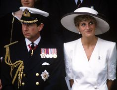 Princess Diana and Prince Charles at the Gulf War victory parade at Mansion House, London in 1991