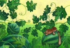 Green NURSERY PRINT, BUNNY decor, Watermelon. Nursery wall art, Baby shower gift, Children room. Nature lover, Vegetable garden illustration by Ciacio on Etsy