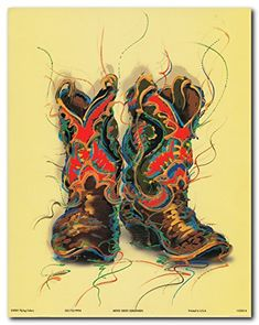 Upgrade the interiors of your house by putting this western cowboy old west boots rodeo contemporary art print poster. This wonderful wall art will surely leaves a long lasting impression on your guests. It will be a great addition for any home decor especially for those who love traditional decor pattern. Goes with all decor style and makes any space, centre of attraction. Hurry up! Buy this poster for its better quality and excellent color accuracy.