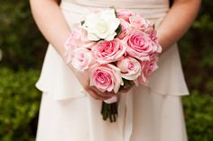 Pink roses with gardenia Disneyland flower girl bouquet