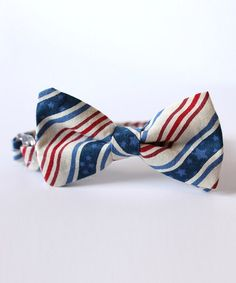 Take a look at this Red & Blue Stripe Bow Tie by Trendy Ties on #zulily today!