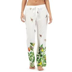 B by Ted Baker White garden print trousers (€31) ❤ liked on Polyvore featuring pants, white elastic waist pants, patterned trousers, floral pattern pants, patterned pants and stretch waist pants