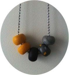 DIY - Clay Bead Necklace (yellow & grey) - Land of Zonkt [blog]
