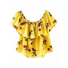 Choies Yellow Off Shoulder Floral Ruffle Chiffon Blouse (625 THB) ❤ liked on Polyvore featuring tops, blouses, yellow, off-the-shoulder tops, frilly blouse, floral top, off the shoulder ruffle blouse and off shoulder tops