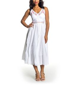 Look at this White Embroidered Empire-Waist Dress on #zulily today!