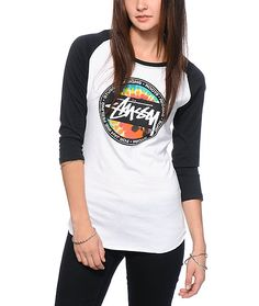 $25 Zumiez  Keep the good vibes goin' year round with the Stussy tie dye dot graphic printed on a slim fit baseball tee cut from a soft and lightweight cotton for absolute comfort.