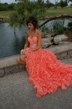 Such a pretty dress- this will be my pro m dress Buy at: http://www.delightinstore.com/a-line-sweetheart-ruffles-long-coral-prom-dress_2384.html