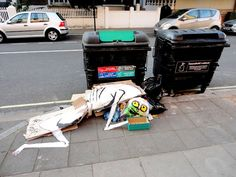 """Why does he work with rubbish? """"It's a portrayal of the monstrous side of humanity. I think that trash is a true place to express yourself.""""   Meet The Street Artist Turning London's Rubbish Into Art"""