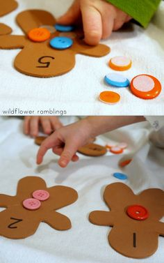 I am so excited to bring you our Gingerbread Man Button Counting Busy Bag today!! This simple, holiday-themed busy bag reinforces counting and colors, while helping children with their pincer grasp and fine motor skills!! Sometimes, it is difficult to keep little hands busy when you just need a minute to {fill in the blank} load...Read More » Fairy Tale Activities, Eyfs Activities, Nursery Activities, Gingerbread Man Activities, Gingerbread Crafts, Christmas Activities, Gingerbread Men, Traditional Stories, Traditional Tales