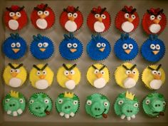 Angry Bird Cupcakes Red, yellow, and blue bird and then the evil green pig! Used Marshmallows, jelly beans, starburst, and black licorice