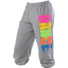 Rainbow Graffiti Dance Sweatpant; Urban Groove (27 AUD) ❤ liked on Polyvore featuring activewear, activewear pants, pants, bottoms, sweatpants, jeans, sweats, urban sweatpants, cropped sweat pants and cropped sweatpants