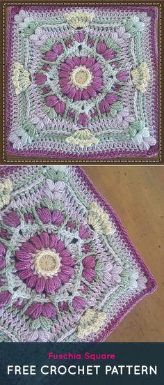 Fuschia Square Free Crochet Pattern #crochet #crafts #homedecor #handmade #style #square