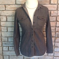 Black wash denim style top Gently loved black wash denim style top. In great condition. Petite small. Banana Republic Tops Button Down Shirts