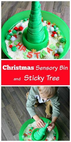 A Christmas sensory bin and sticky tree are so much fun for kids of all ages. My toddler & preschooler love playing with this and it keeps them busy for hours. So many great learning activities with it too!