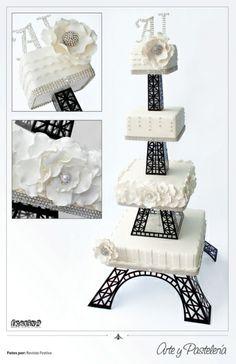 Bizcocho de Bodas Torre Eiffel por Arte y Pastelería / 787-370-7299