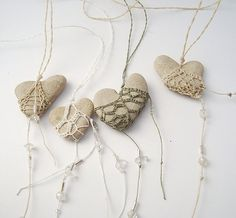 "Sweet Heart-shape Stone & Cord Pendants - ""A bit of crochet, a bunch of beads, some string and rocks. I love how simply yet stylish these hearts look. I can picture a lot of them hanging on a sunny living room, so lovely."" <> The Indie Handmade Show: Artistic Ideas <> Looping, micro macrame, needle tatting etc."