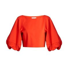 Tibi Balloon-sleeved stretch-poplin cropped top ($567) ❤ liked on Polyvore featuring tops, orange, orange top, 3/4 length sleeve tops, crop top, v neck tops and v neck crop top