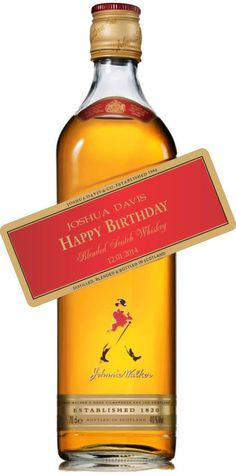 Personalized Scotch Red Label, Happy Birthday, Wedding ( Printed on Gold Foil)