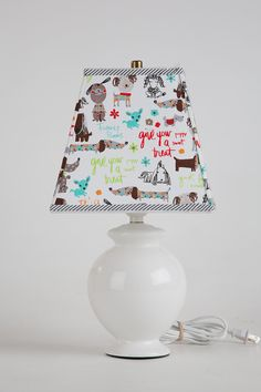 Dog Lovers Lamp Shade (& Lamp Base) Featuring Adorable Dogs
