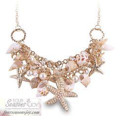 Sea Shell Starfish Necklace #4SJOY www.fourseasonsjoy.com