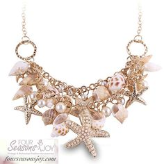 Sea Shell Starfish Necklace #4SJOY www.fourseasonsjoy.com