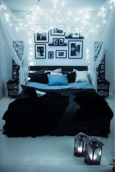 Inviting and comfortable bedroom with lights and curtains