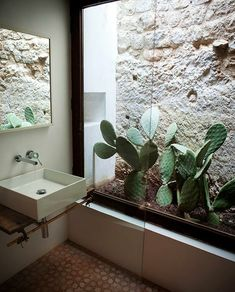 Bringing the outdoors inside a bathroom through a large glass wall. This feels like a spa inside your home.