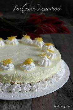 cheesecake lemoni me karamelomeno xisma My Cookbook, Greek Recipes, Dessert Recipes, Desserts, Cheesecakes, No Bake Cake, Vanilla Cake, Soul Food, Sweet Tooth