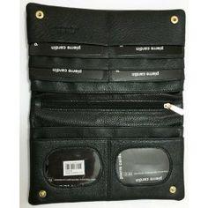 Pierre Cardin Womens RFID Proteced Italian Leather Handbag Like Wallet - Black -PC10842