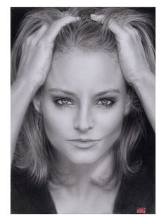 30 Amazing Celebrity  Models Pencil Sketches - Jodi Foster