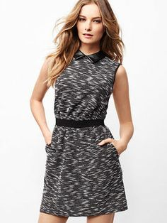 Victoria's Secret Mixed-media Knit Dress on shopstyle.com | Equal parts edgy and casual, this sleeveless dress is a modern statement maker. A faux leather collar adds a sleek dimension to the textured knit, and an open-back keeps you sexy and cool.