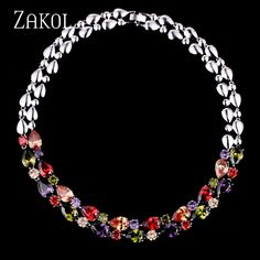 ZAKOL Classic Mona Lisa Multicolor Top High Quality Cubic Zirconia Simulated Diamond Necklaces for Wedding FSNP006