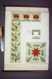 Tile designs for fireplace and hearth, using the waratah as central motif, by Ethel Atkinson', Sydney 1900-1905.