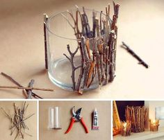 DIY twig candle holder, for that chalet feelDIY Twig Candle Holder- Very Pretty And Creative - SalvabraniThese DIY twig candle holders are absolutely adorable and can be used in almost any theme if you know how to play it up right. Rustic Candles, Rustic Candle Holders, Diy Candles, Driftwood Candle Holders, Making Candles, Driftwood Lamp, Homemade Candles, Beeswax Candles, Diy Room Decor