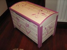 Toy Chest, Storage Chest, Cabinet, Toys, Furniture, Home Decor, Stencil, Raspberry, Ivory