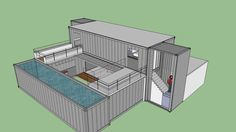 Large preview of 3D Model of shipping container dynamic home with courtyard,
