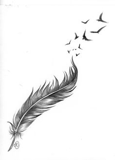 Feathers and birds — Steemit Tiny Bird Tattoos, Mini Tattoos, Body Art Tattoos, Small Tattoos, Sleeve Tattoos, Tattoos For Guys, Tattoos For Women, Angel Tattoo For Women, Feather With Birds Tattoo