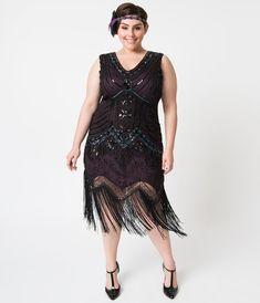 68050ad4957 Plus Size 1920s Deco Purple   Black Sequin Veronique Fringe Flapper Dress