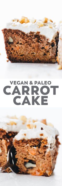Vegan Paleo Carrot Cake made with almond flour and filled with yummy spices, chunky walnuts, and a creamy cashew frosting on top! #vegan #paleo #grainfree #dessert #baking #healthy #recipe #glutenfree