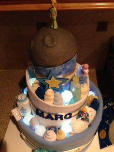 The Little Prince diaper cake - and it lights up
