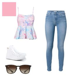 """""""casual day out on the town"""" by jessicapikunas ❤ liked on Polyvore featuring moda, 7 For All Mankind, Converse e Ray-Ban"""