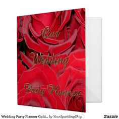 Wedding Party Planner Gold Typography Red Roses