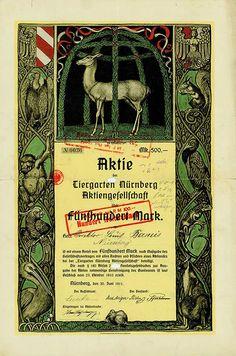 HWPH AG - Historische Wertpapiere - Tiergarten Nürnberg AG Nürnberg, 30.06.1911, Gründeraktie über 500 Mark, später auf 100 RM umgestempelt, #36