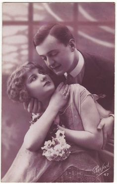 French art nouveau postcard  Romantic couple