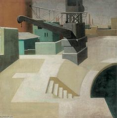 Béla Kontuly (Hongrie, – Banks of the Danube at Winter New Artists, Wow Products, Hungary, Art Deco, Stairs, Explore, Painters, Gallery, Banks