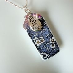 Jewelry Pendant Blue Floral Domino Be True by CalliopeAZCreations, $19.00